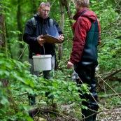 Deux hommes en pleine nature, effectuant un recensement de tritons. Ils ont des bottes et des waders, un seau et un carnet dans lequel ils notent leurs observations. Il sont au bord d'une mare. Etude de la variation de population d'amphibiens. Protection des espËces, suivi des populations, dans le cadre d'un contrat Natura 2000.