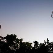 Pilote de cerf-volant traditionnel ‡ Hong-Kong, en Chine. Train de cerf-volants reprÈsentant des poissons dans le ciel au coucher du soleil.  Pilote adulte ayant le dÈvidoir en main.