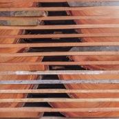 Scierie en Guyane. Bois massif. Grumes, troncs. Bois en train de sécher.