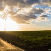 Eoliennes - Developpement durable - Soleil - ROute - Champ