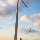 Petite fille dans la campagne devant des eoliennes. Futur. Developpement durable - Generations futures - Energie -