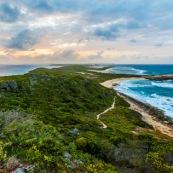 Guadeloupe. Pointe des chateaux au coucher du soleil. Paysage. Bord de mer.
