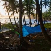 Guyane. Vestiges du bagne. Iles du salut. Ile saint joseph : camping avec hamacs.