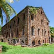 Guyane. Vestiges du bagne. Iles du salut. Ile royale : ruines, phare, hospital.