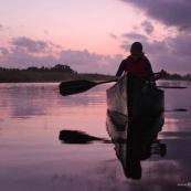 Marais de Kaw en Guyane au leve du soleil. En canoe et en kayaks. Lune en arriere plan.