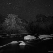Riviere de Guyane de nuit. Foret tropicale amazonienne.