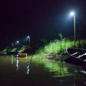 Debarcadere au marais de kaw en Guyane. Avec un canoe.