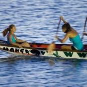 Competition de pirogue a Kourou (Guyane francaise) : les maitres de la pagaie. Sur le lac bois chaudat. Pirogue : P12 (12 places).