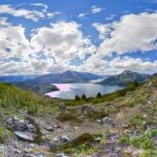 Parque Nacional Los Alerces ( parc national ) en Argentine (patagonie) montagnes et lac dans le parc national. 360° visite virtuelle panorama.