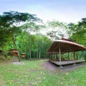 Panorama parc national Yanachagga Chemillen à Huampal. Maisons de garde parc pour accueillir les touristes. COnstruction en bois, carbet. Dans la forêt.