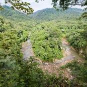 Forêt tropicale avec rivière qui forme un U. Parc national Amboro en Bolivie.
