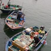 Scene de retour de peche en Chine, port de Sai Kung a Hong-Kong. Vente a la criee. Retour des bateaux. Vente des poissons. Matin brumeux. Peche traditionnelle.  Dans le bateau, poissons vivants frais. Pecheur.