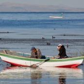 Lac  Titicaca,  barque de peche sur le lac avec pecheur. Pérou. A la rame. Peche traditionnelle. Femme et homme.  Perou.
