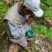Homme en train de macher des feuilles de coca en Bolivie, dans la campagne, en forêt. Chique de coca.