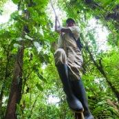 Homme en train de grimper a une liane (racines aeriennes) dans la foret tropicale amazonienne.