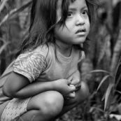 Petite fille enfant amerindienne. Equateur parc Yasuni.