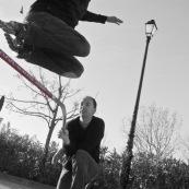 Roller. Figure acrobatique. Saut.