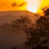 Saul au petit matin (lever du soleil) depuis le belvedere. Brume.  En foret tropicale amazonienne.  Parc amazonien de Guyane. Vue sur la canpee.
