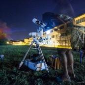 Lycee damas a Remire Montjoly Guyane.  Nuit des etoiles. Telescope astronomie lunette. Observation.