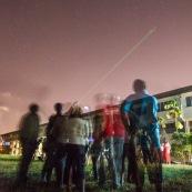 Lycee damas a Remire Montjoly Guyane. Nuit des etoiles. Telescope astronomie lunette. Observation. Laser dans le ciel.