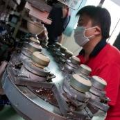 Usine de fabrications de roues de rollers en Chine.