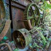 Ancienne rhumerie a Matoury, Guyane francaise.  Engrenages. La vegetation reprend ses doits. La vegetation reprend ses doits.