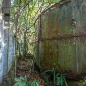 Ancienne rhumerie a Matoury, Guyane francaise.  La vegetation reprend ses doits.  Cuve rouillee par le temps, percee.