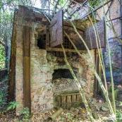Ancienne rhumerie a Matoury, Guyane francaise.  La vegetation reprend ses doits.  Four.