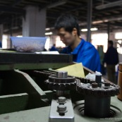 Engrenages d'une machine, usine en Chine.