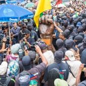 Crise sociale en Guyane. 4 avril 2017. Manifestation à Kourou, aux pieds du CSG (Centre Spatial Guyanais).